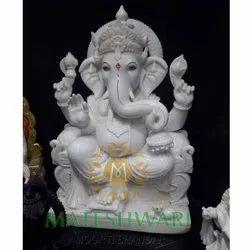 Lord Ganesh White Marble Moorti