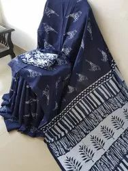 Black White Hand Printed Malmal Cotton Saree