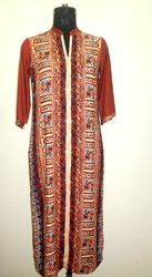 Ishima Brown Ethnic Print Long Rayon Kurti