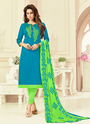 Cotton Slub Churidar Suits For Casual Wear
