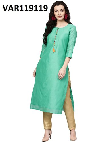 Green Plain Cotton Kurtis, Size: S