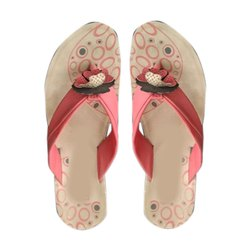 Red and Brown Ladies Casual Slippers, Size: 4-8