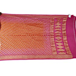 Pink And Orange Color Fancy Bandhani Banarasi Georgette Dupatta