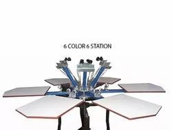 6 Color 6 Station T Shirt Printing Machine