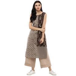 Cotton Sleeveless Printed Kurti, Size: S, M & L