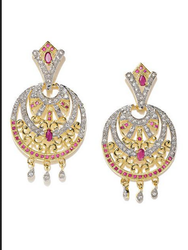 Rubans Ruby And CZ Studded Chandbali Earrings