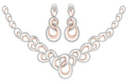 Designer Diamond Necklace Set with Earrings