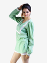 Green Lace Paneled Top