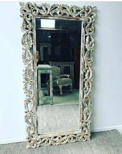 Antique Polished Carved Wooden Mirror, Antique Wooden Frame Mirror