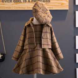 Brown Stripe Style Dress With Coat And Cap