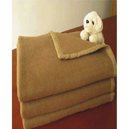 camel color blanket with four side satin border - Camel Color