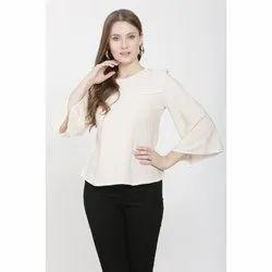 White Rayon Ladies Round Neck Top, Size: S-XL