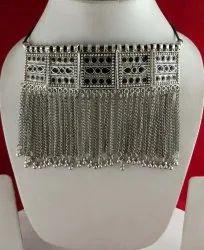 NK Enterprises Alloy NK Handmade Tribal Chocker Silver Black with Chain, Size: Free