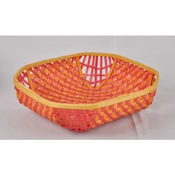 Orange Hand Woven Colorful Basket