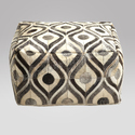 Sge Geometical Hair On Hide Leather Ottoman