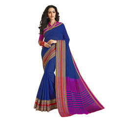 Blue Color Chanderi Banarasi Cotton Weaving Sari With Blouse Piece