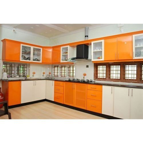 Orange And White Wooden Modular Kitchen Cabinets Rs 1100 Square Feet Id 22141576433