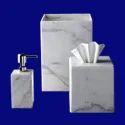 Decorative White Marble Bathroom Set