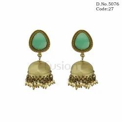 Hanging Round Antique Stone Studded Mehendi Polish Jhumka Earrings