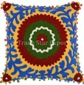 Indian Suzani Embroidered Cushion Cover