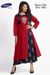 Fancy Silk Double Layer Kurti with Embroidery