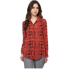 Female Red Women Party Wear Shirts