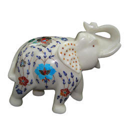 Home Decor Inlay Work White Marble Elephant