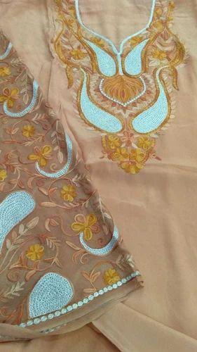 Crepe Kashmiri Embroidery Aari Work Dress Material Rs 7000 Piece
