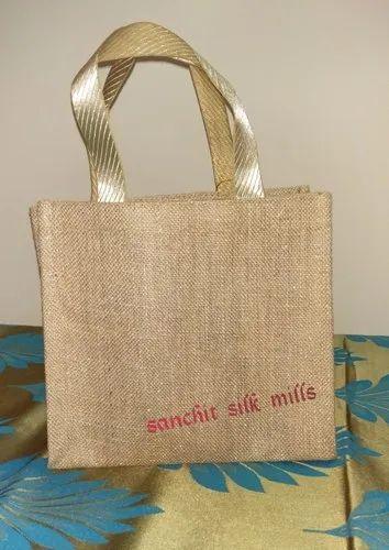 Brown Plain,Printed Jute Wedding Gift Bag, Capacity: 2 Kg
