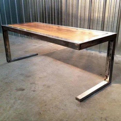Solid Wood Brown Steel Furniture, Metal And Wood Furniture