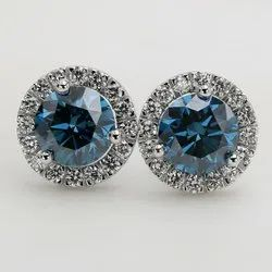 Halo Blue Diamond Stud Earrings TCW 2.62ct VS Treated CVD Stones 14k White Gold