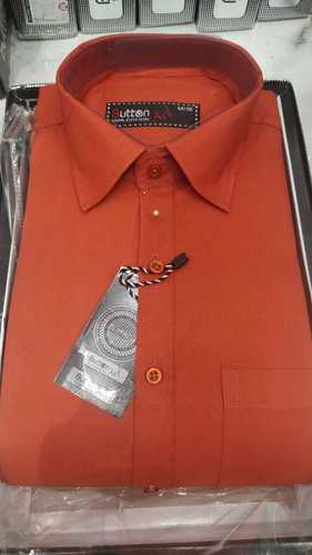 a4b8d6c8 Button Art Dark Orange Plain Full Sleeve Mens Shirt, Size: M To 3XL ...