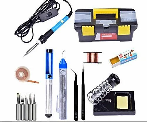 Adjustable Soldering Irons Kit with Stand Bits Tips Wick Solder