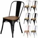 Metal Cafe Tolix Chair With Wooden Seat, Size: 45*45*85, Seating Capacity: 1