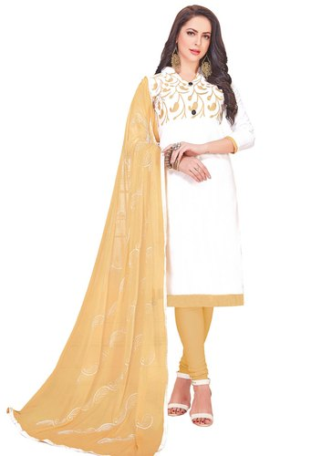 White Kesari Exports Cotton Embroidery Work Salwar Suits