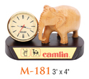Wooden Base Elephant Statue with Clock