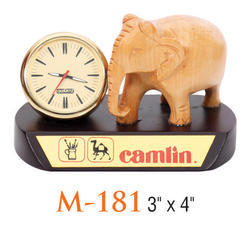 Wooden Base Elephant Statue With Clock, Size: 3 X 4 Inch