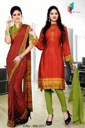 Green and Red Italian Crepe Uniform Saree Kurti Combo