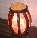 Cage Shaped Basket Lamp With Rocksalt Crystals