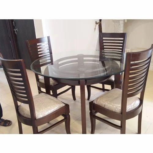Brown Teak Wood 4 Seater Round Dining, Round Dining Set For 4