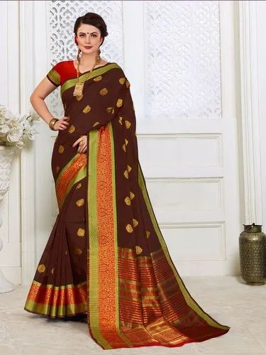 Cotton Silk Weaving  Saree With Blouse Piece ,6.3mtr