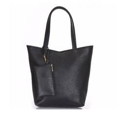 Azzra Black Shoulder and Tote handbag With Mobile Pouch