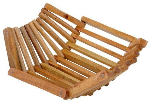 Brown Wood Wooden Basket, Size: 25cm X 25cm