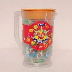 Round Juju Pop Fruit Lollipop, Packaging Type: Plastic Jug