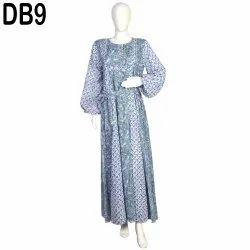 10 Cotton Hand Printed Women's Long Dress India DB9