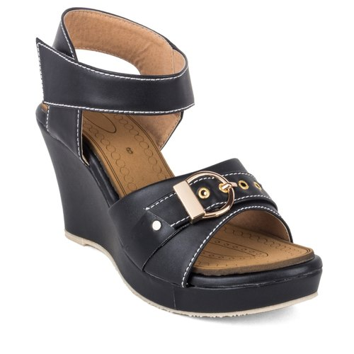 06773b19f Cute Fashion Ladies Black Leather Wedge Sandals, Size: 36-40 Euro ...