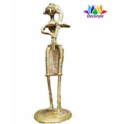 Dhokra Standing Lady Brass Statues