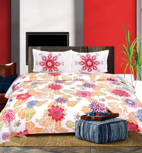 Soft Touch Cotton Printed Bed Sheet Set, Size: 225 X 250 Cm