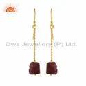 Ruby Gemstone Gold Plated Silver Dangle Chain Earrings