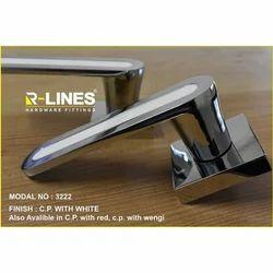 R-Lines Brass Mortise Door Handle Lock, CP with wengi